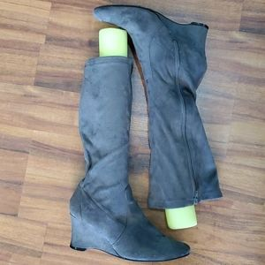 Grey George Over the Knee Suede Boots